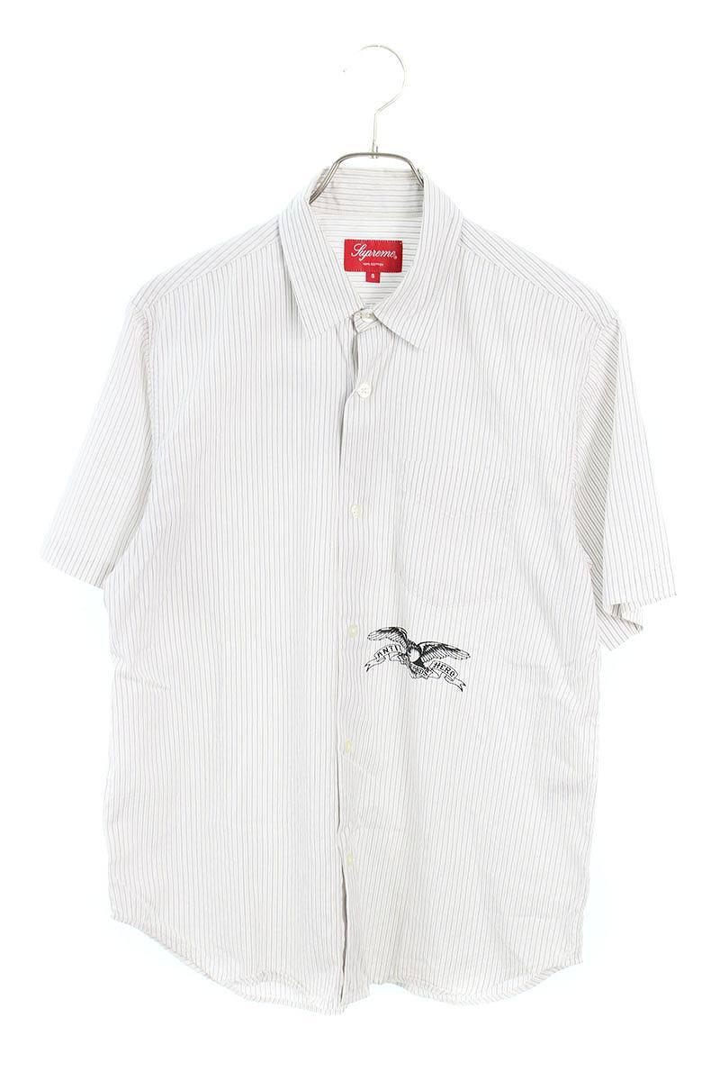 ロゴプルリントストライプ半袖シャツ