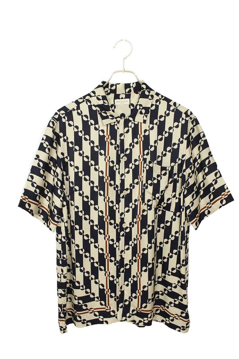 総柄レーヨン半袖シャツ
