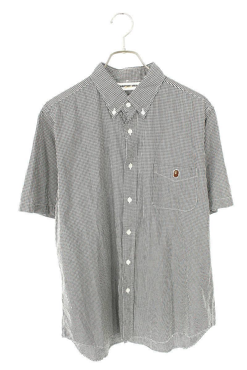チェッカーボタンダウン半袖シャツ