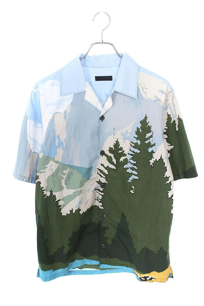 マウンテンプリントボーリングアロハ半袖シャツ