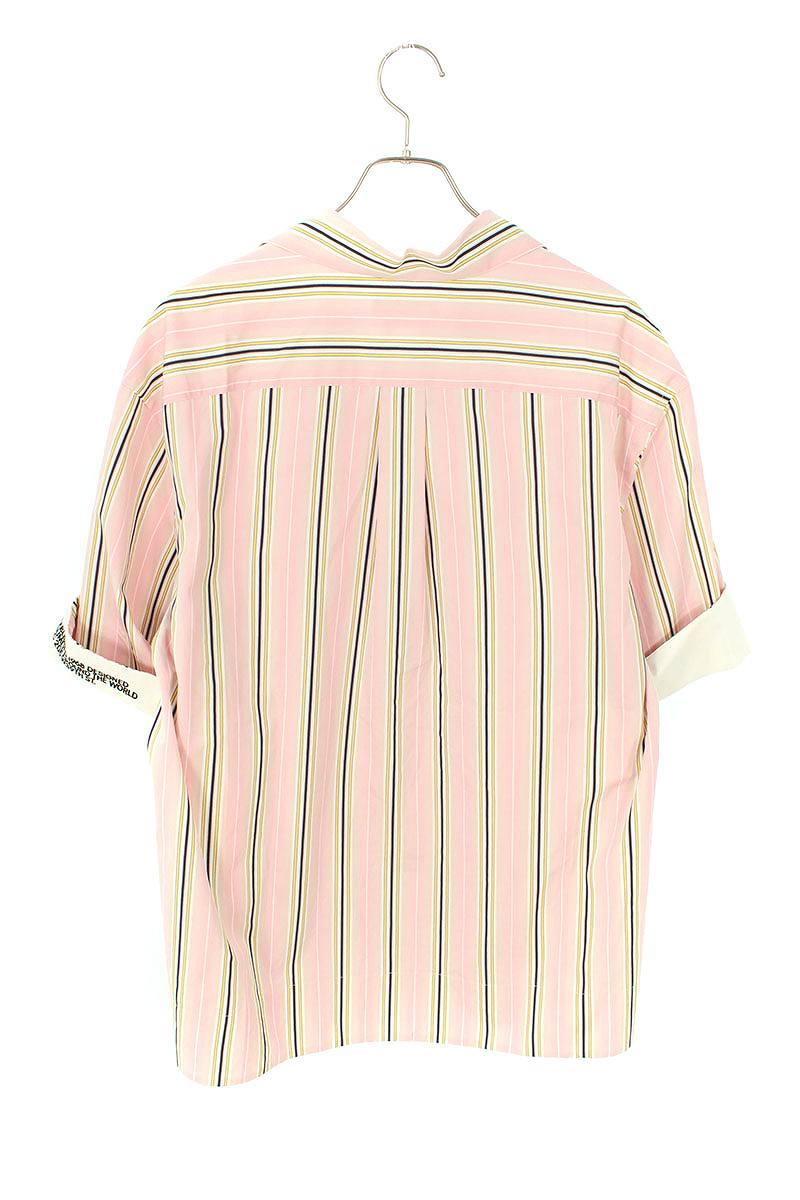 【91MWTD77】ストライプオーバーサイズ半袖シャツ