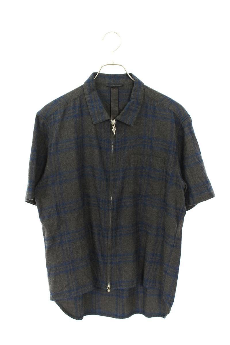 タータンチェックジップアップ半袖シャツ