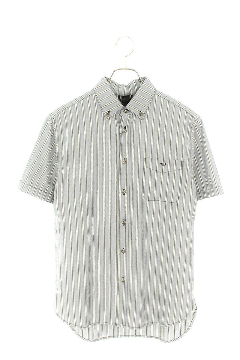 クロスボールボタンストライプコットン半袖シャツ