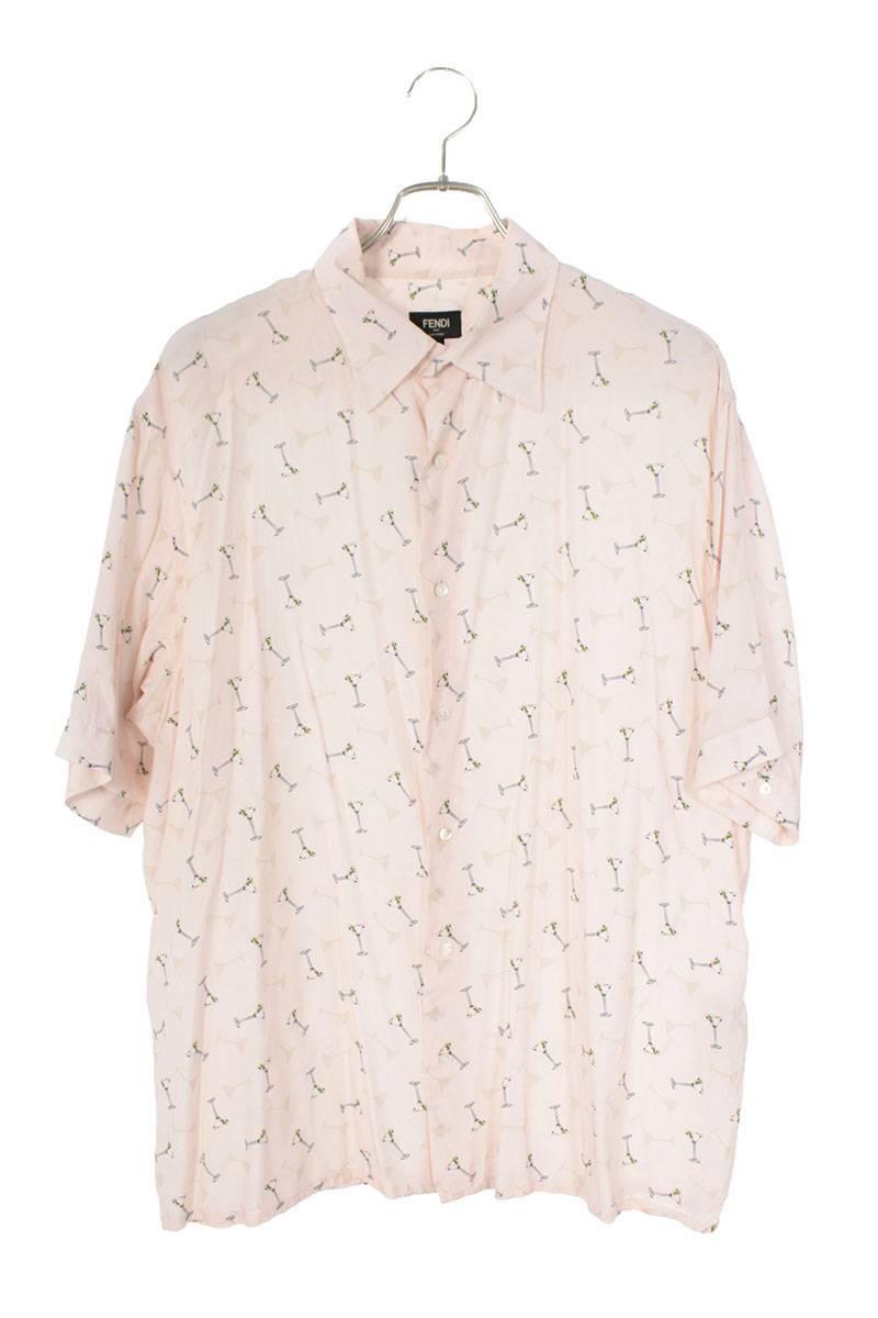 グラス総柄レーヨン半袖シャツ