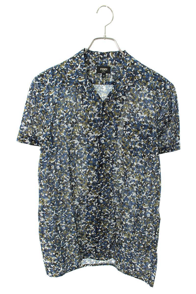 オープンカラーカモフラプリント半袖シャツ