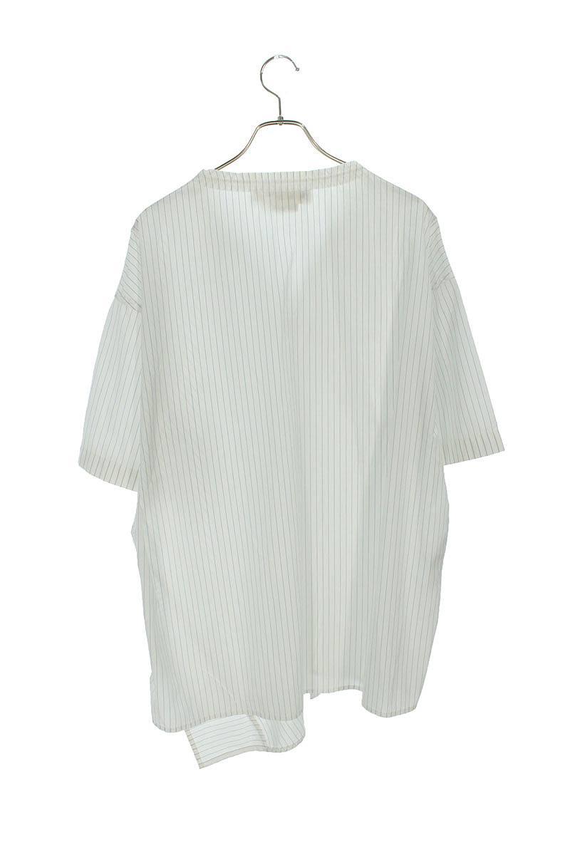 コットンストライプアシンメトリースキッパー半袖シャツ