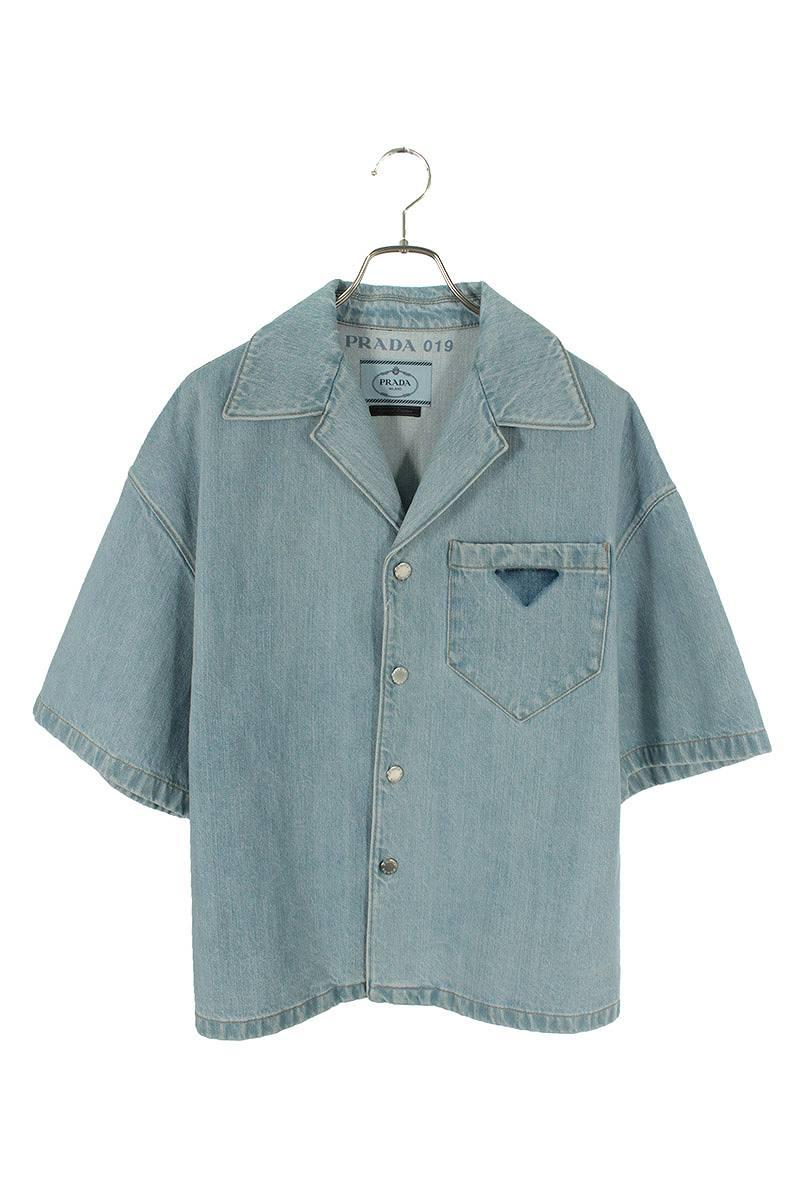 プレートデザインデニム半袖シャツ
