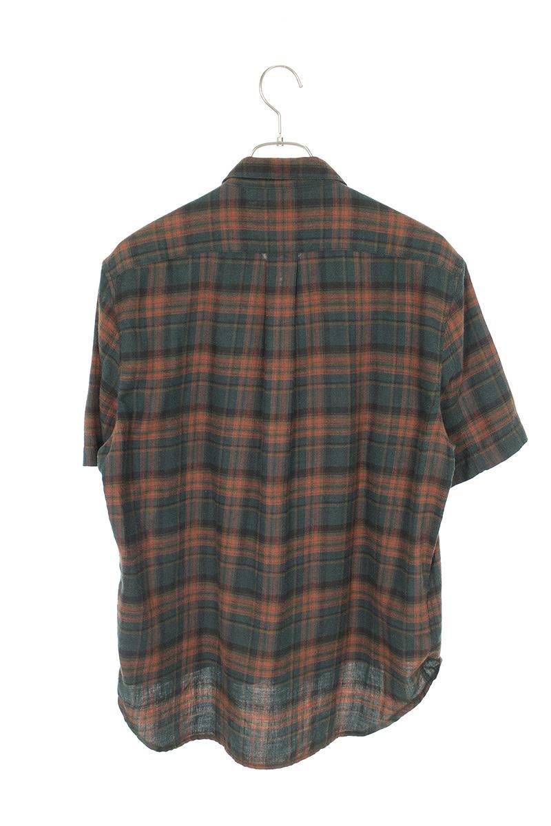 タータンチェックダガージップ半袖シャツ