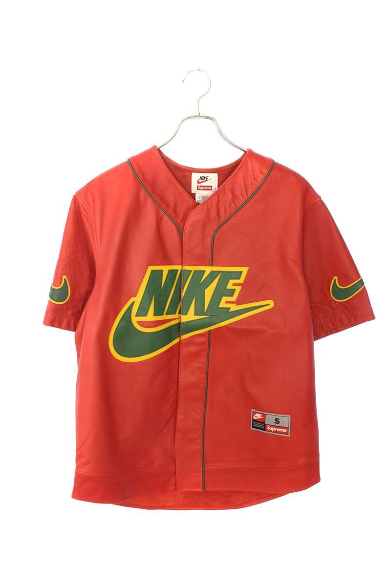 レザーベースボールジャージー半袖シャツ