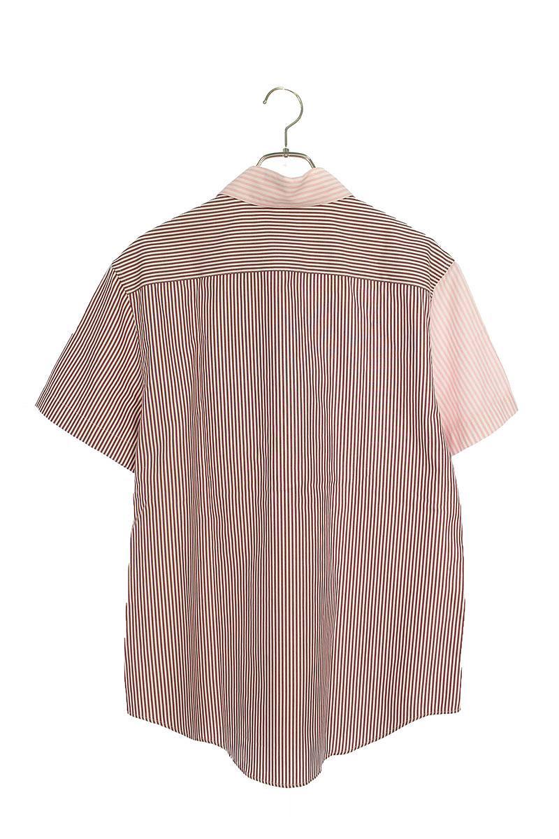 ストライプ切替半袖シャツ