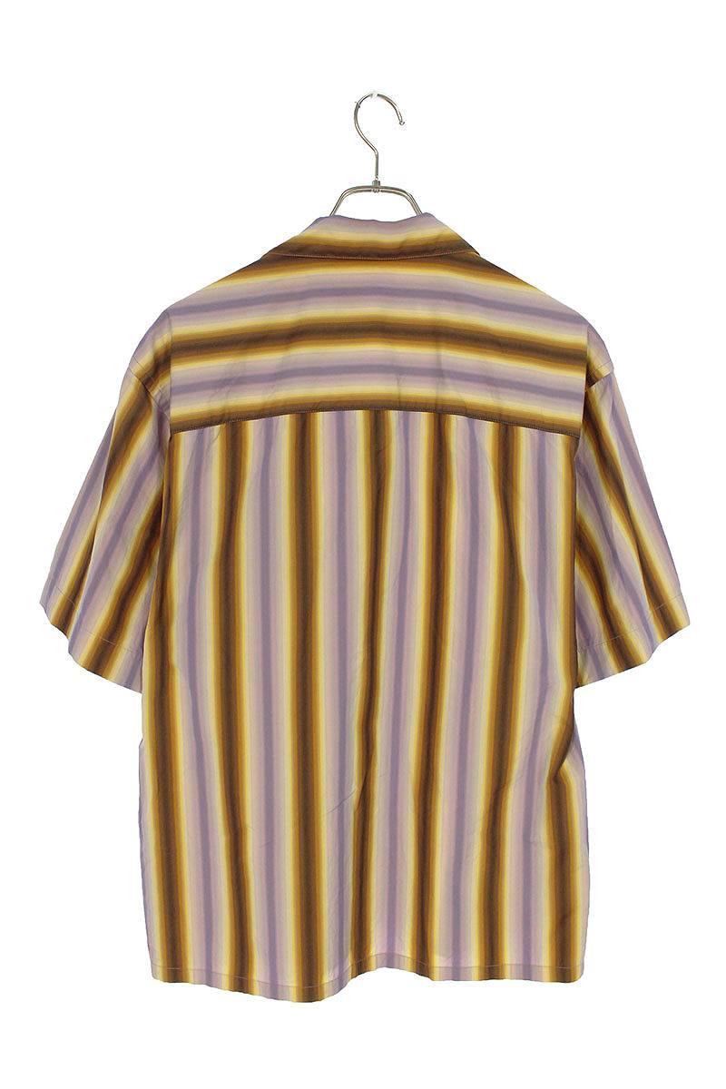 コットンマルチストライプオープンカラーシャツ