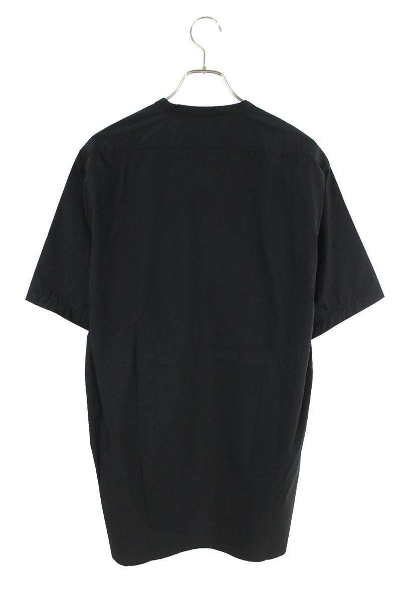 ノーカラースナップボタン半袖シャツ