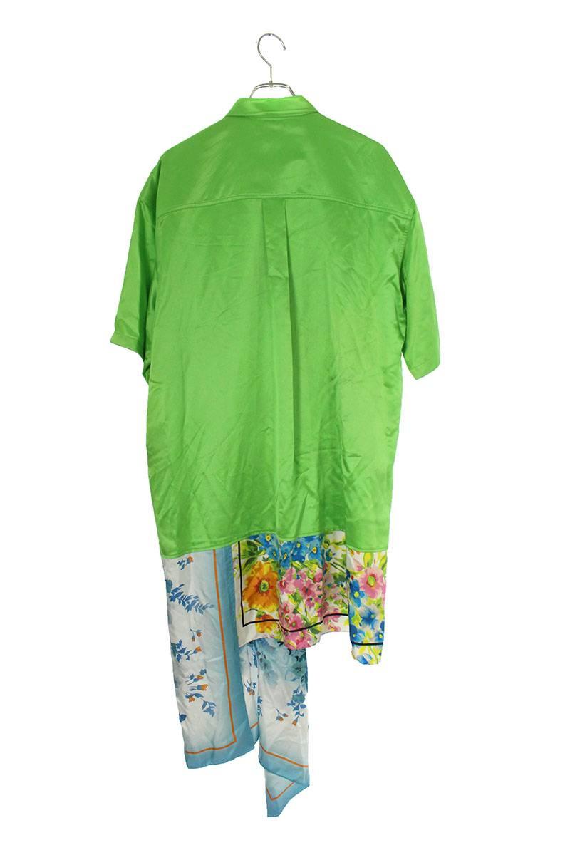 フラワー柄切り替え裾デザインシルク半袖シャツ