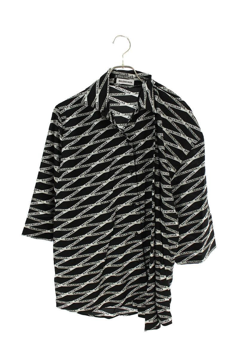 襟デザインロゴ総柄変形半袖シャツ