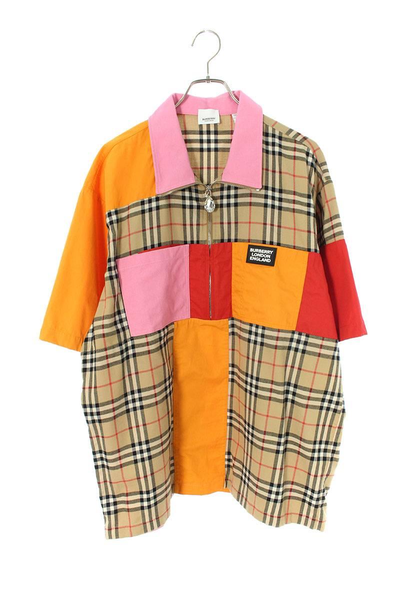 ロゴパッチノヴァチェックハーフジップ半袖シャツ