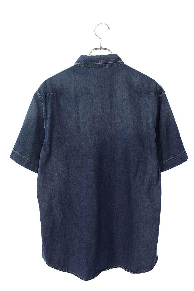 ロゴレザーパッチ付きデニム半袖シャツ