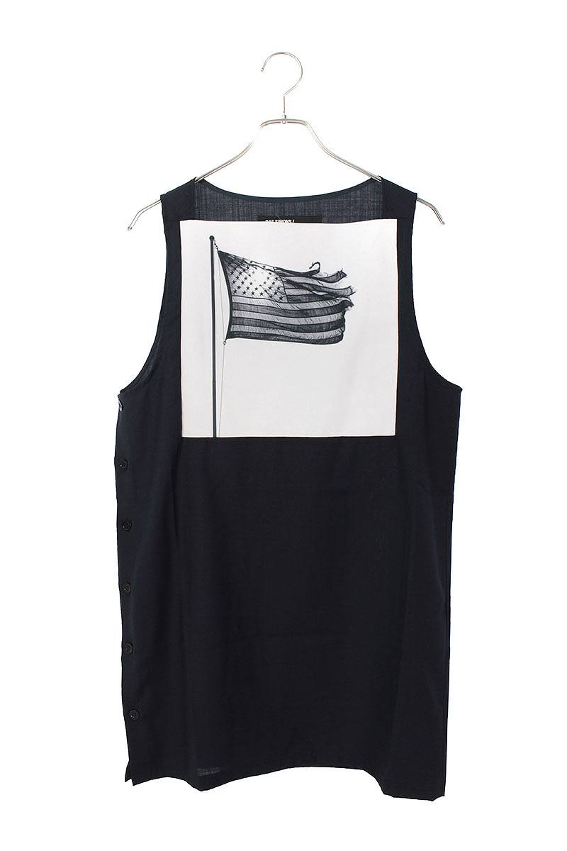 サイドボタンアメリカンフラッグノースリーブシャツ