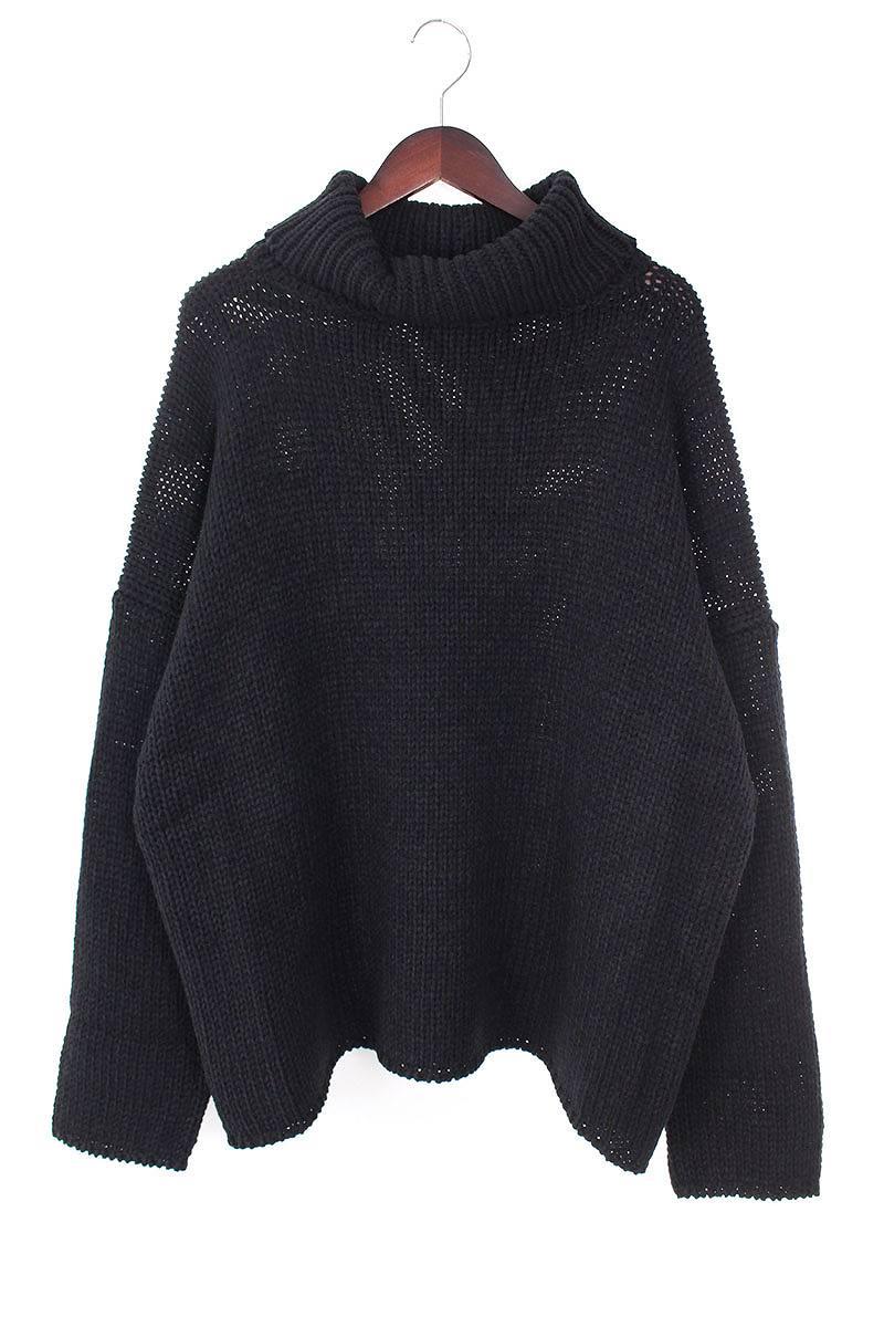 ウール混ハイネックローゲージニットセーター