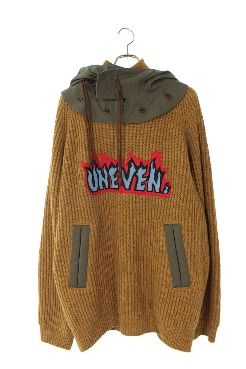 着脱フード付きフロントパッチニットセーター