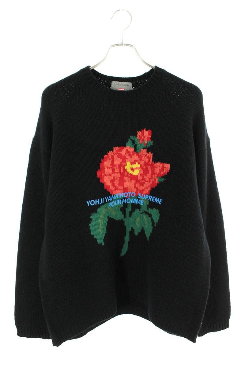 ローズ刺繍ロゴプリントニット