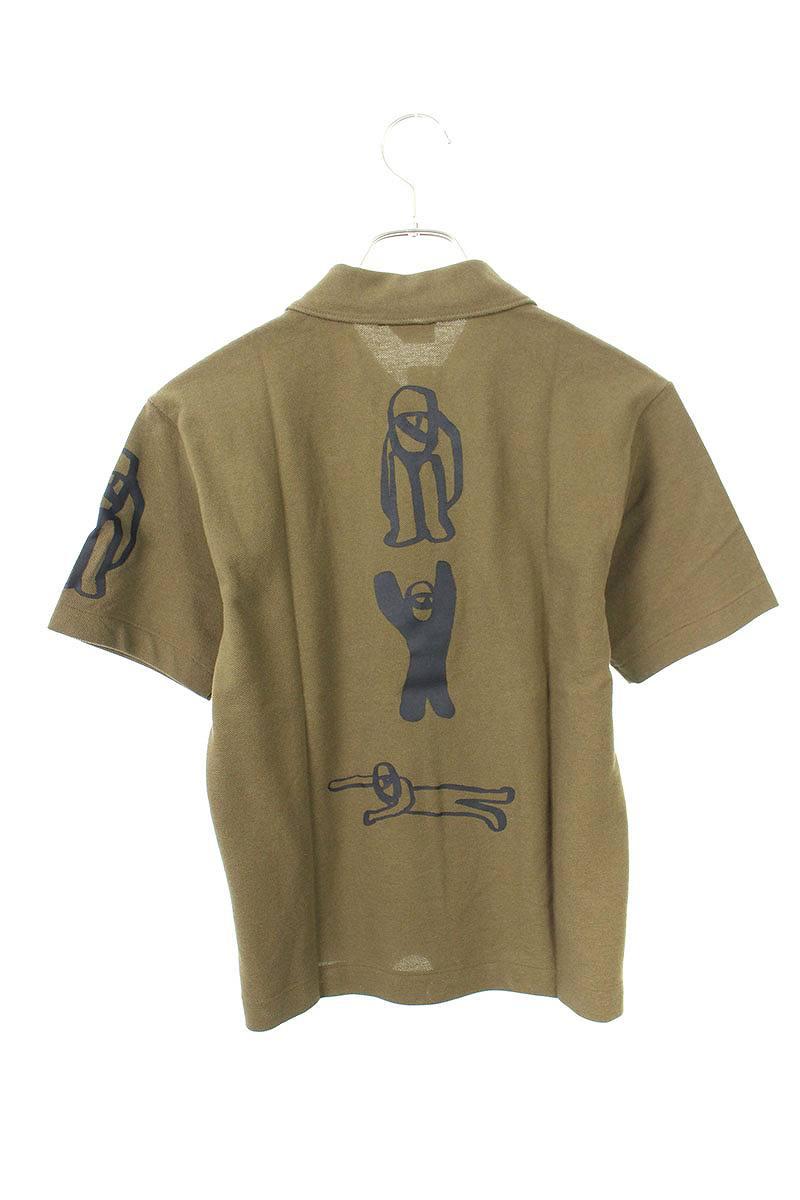 AD2007バック・スリーブプリントハーフジップポロシャツ