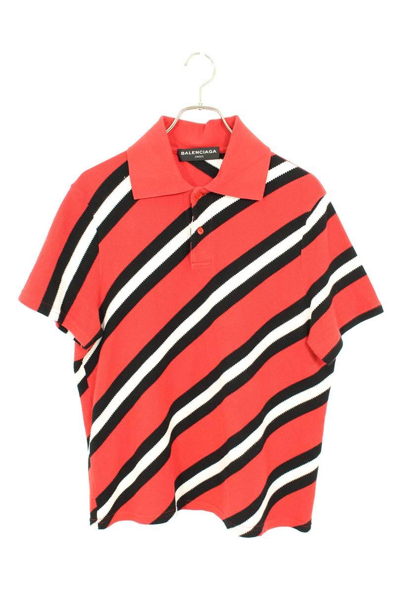 バイアスストライプ半袖ポロシャツ