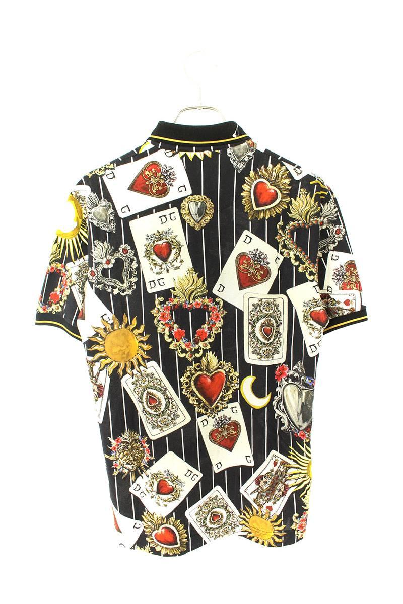 トランプ柄半袖ポロシャツ