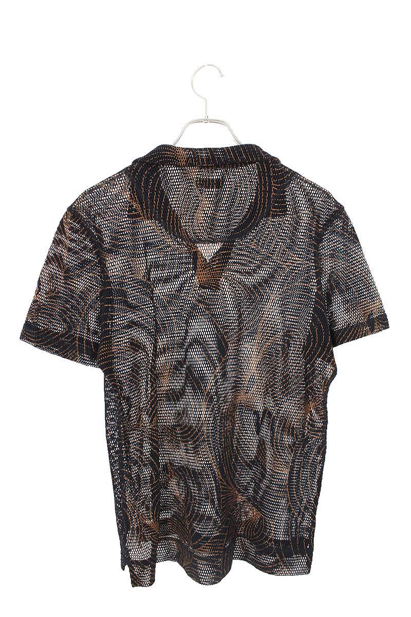 総柄メッシュ半袖ポロシャツ