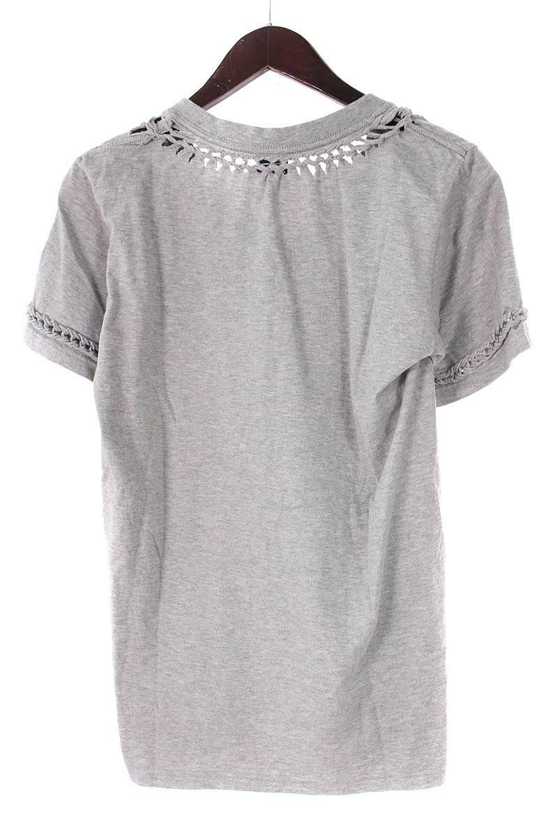 編み込みVネックTシャツ