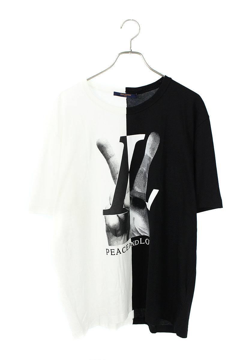 PEACE AND LOVE LVハンドプリントTシャツ