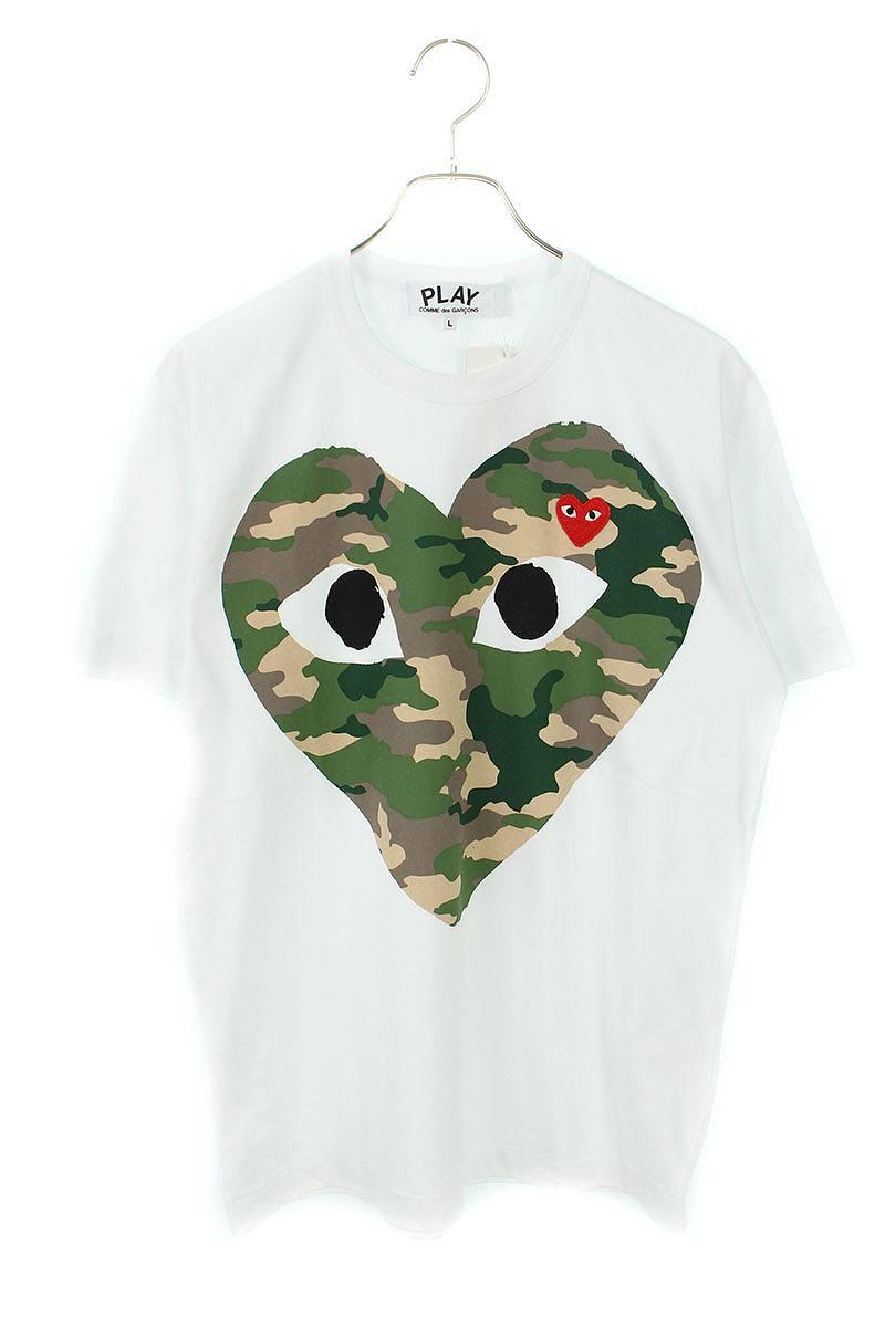 AD2019ハートワッペンビッグカモ柄ハートプリントTシャツ