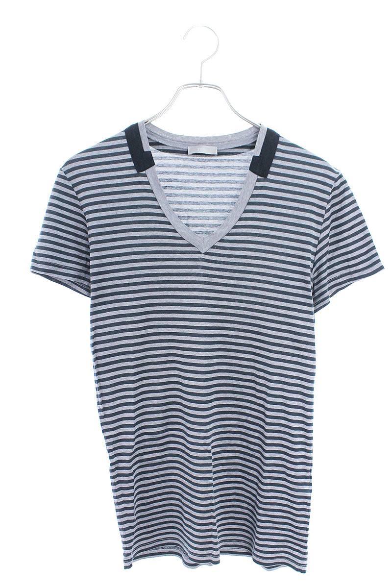 VネックボーダーTシャツ