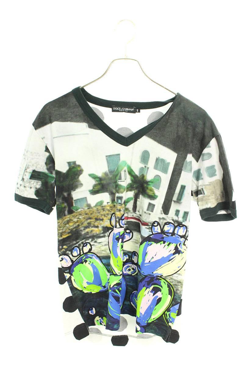 バックドット柄フロント総柄VネックTシャツ