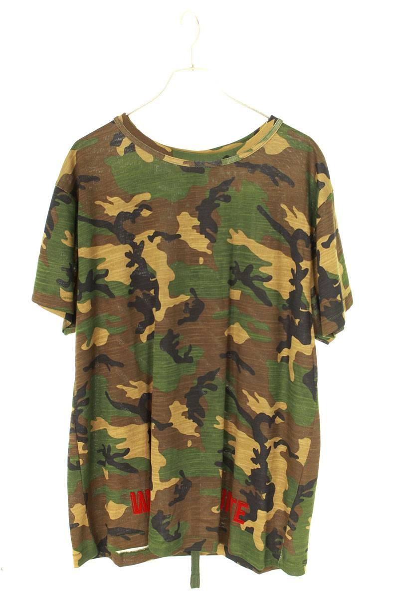 バックバイアスプリントカモフラTシャツ