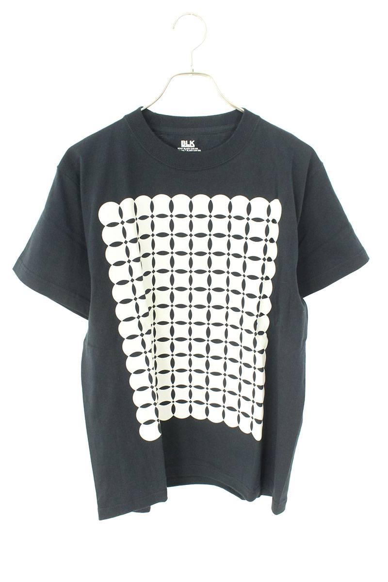 ブラック フロントプリントTシャツ