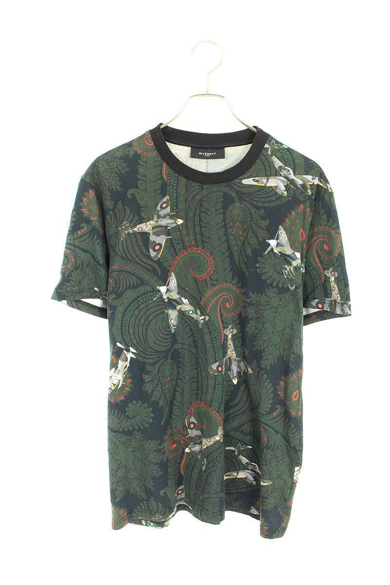 ペイズリー飛行機プリントTシャツ