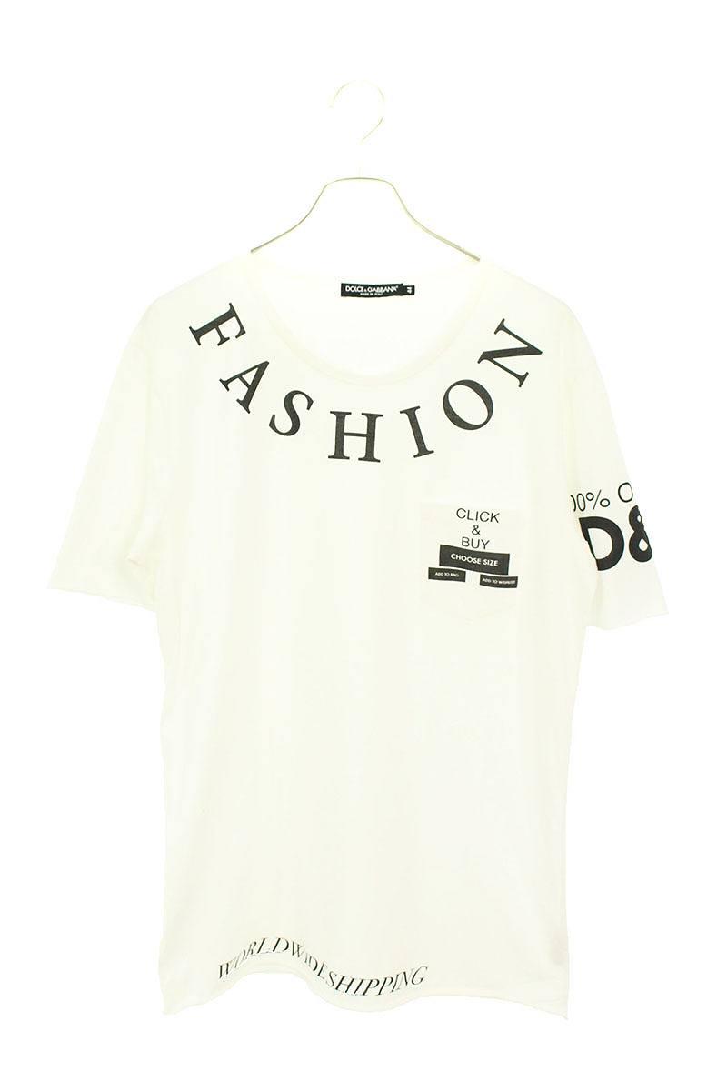 英字プリント胸ポケットTシャツ