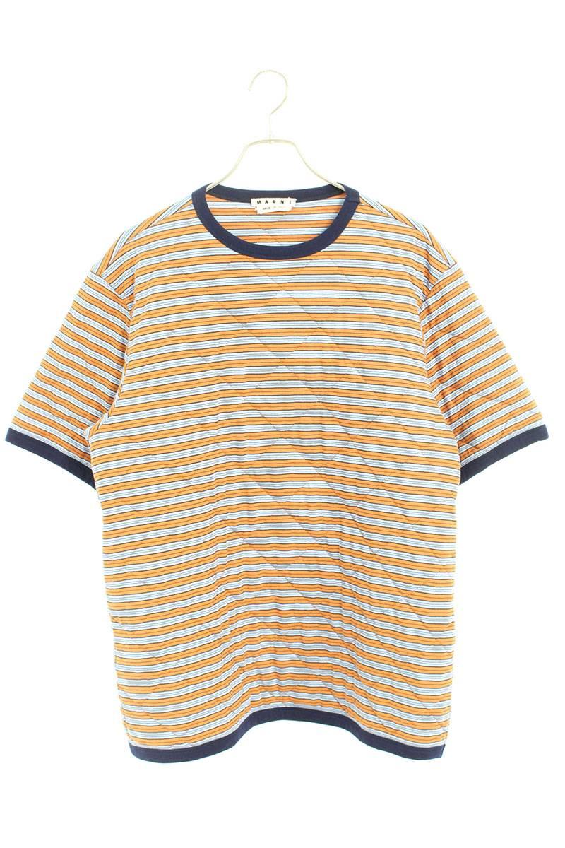 キルティングステッチ中綿ボーダープリントTシャツ