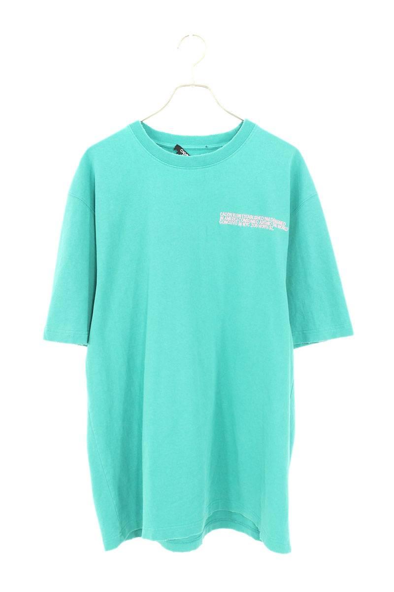ロゴ刺繍ユーズド加工Tシャツ