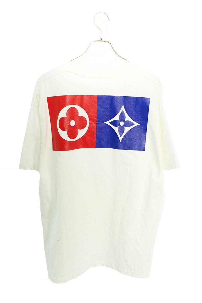 バックフラワーロゴプリントTシャツ