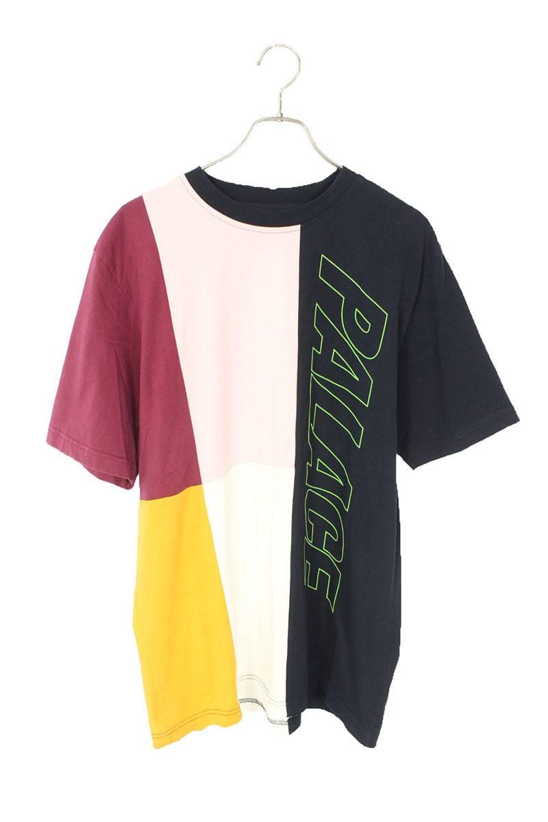ロゴプリントパッチワークTシャツ