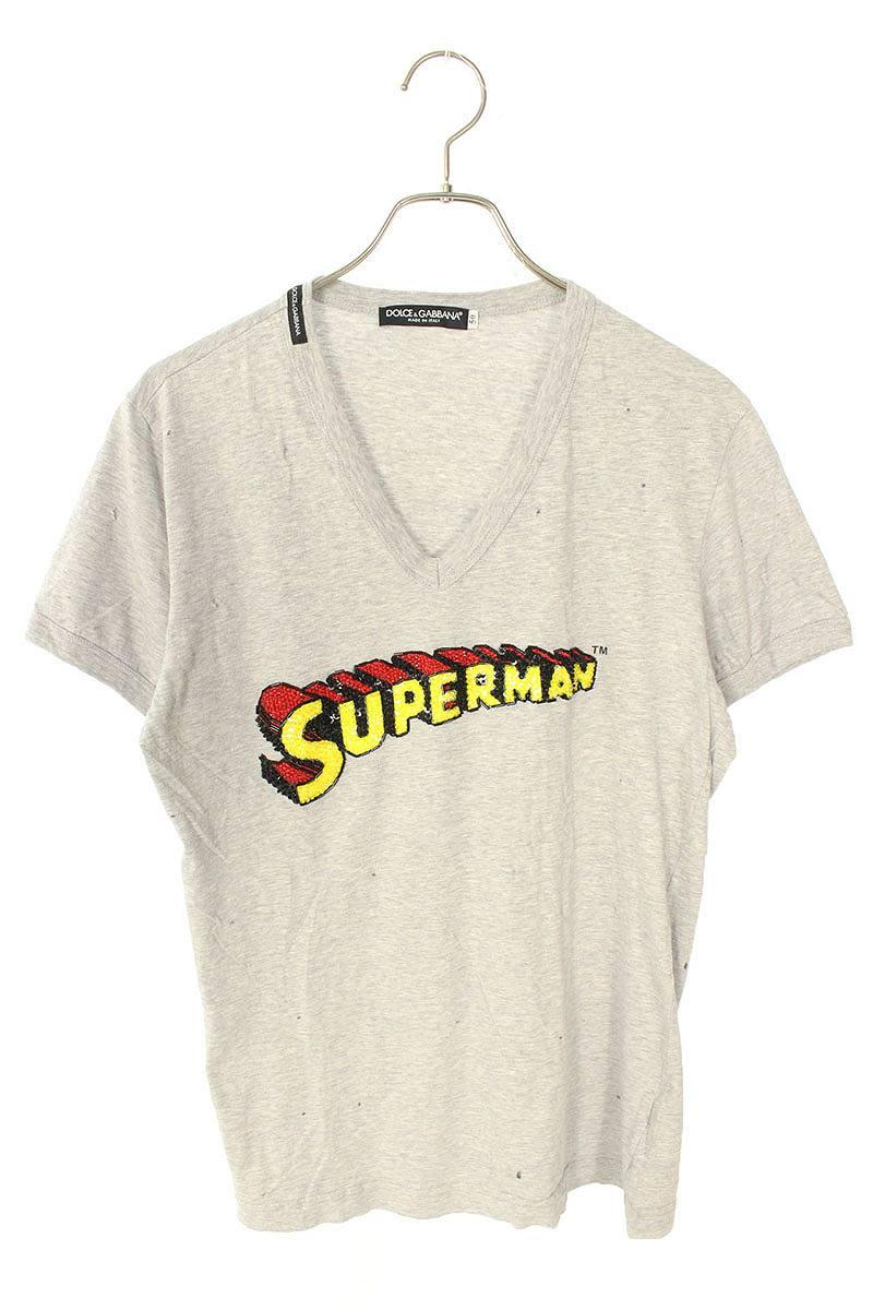 ダメージ加工スーパーマンスパンコールTシャツ