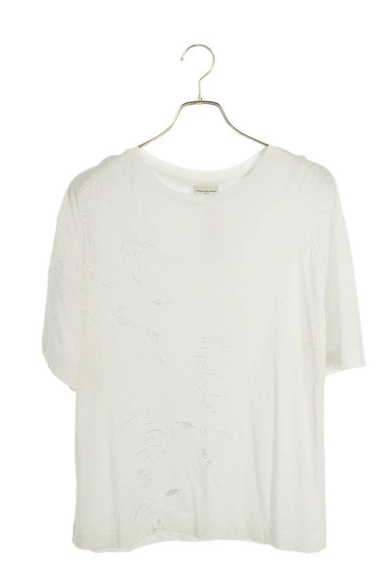 フロントボタニカル刺繍Tシャツ