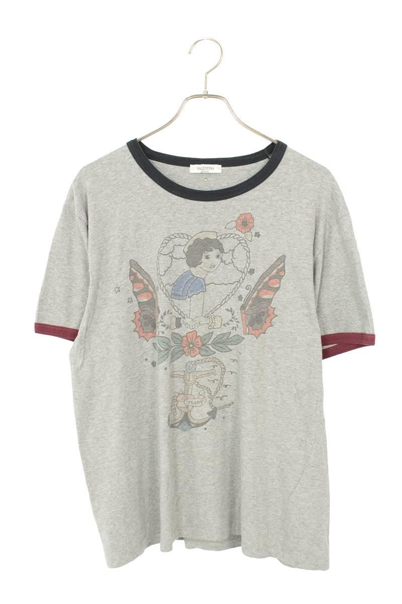 フロントロゴプリントトリムTシャツ