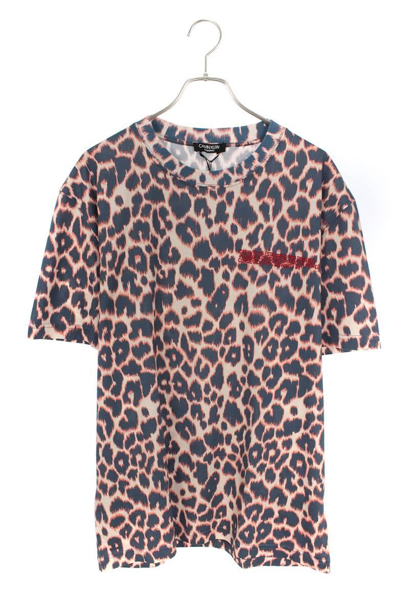 ロゴ刺繍レオパード総柄Tシャツ