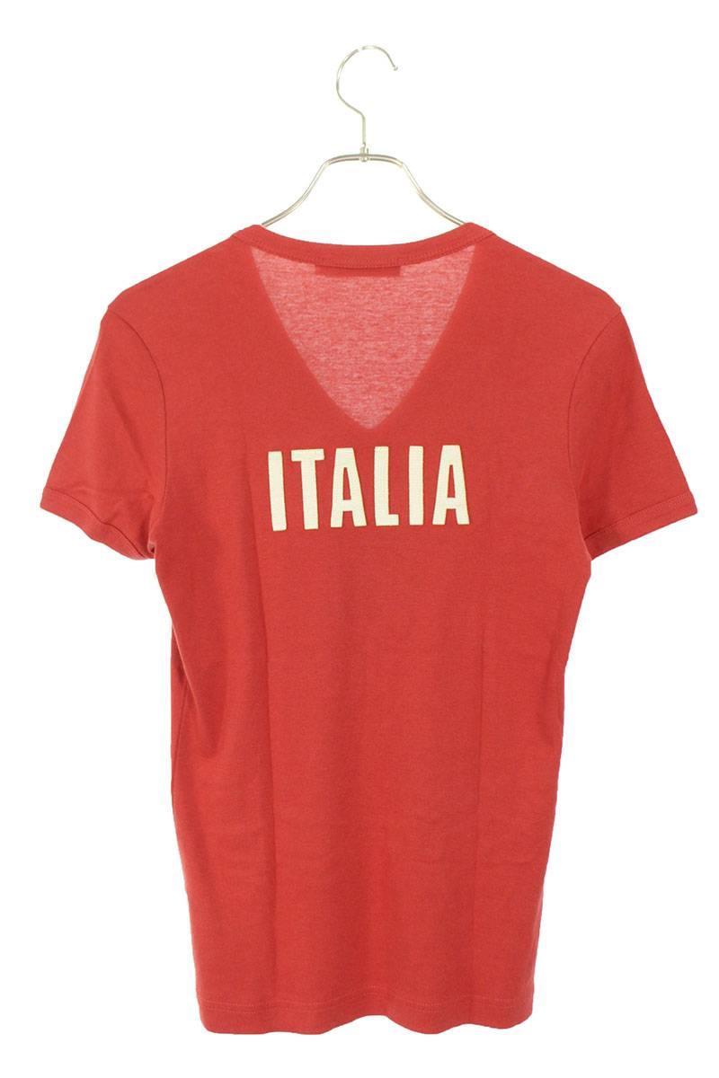 ロゴ刺繍VネックTシャツ