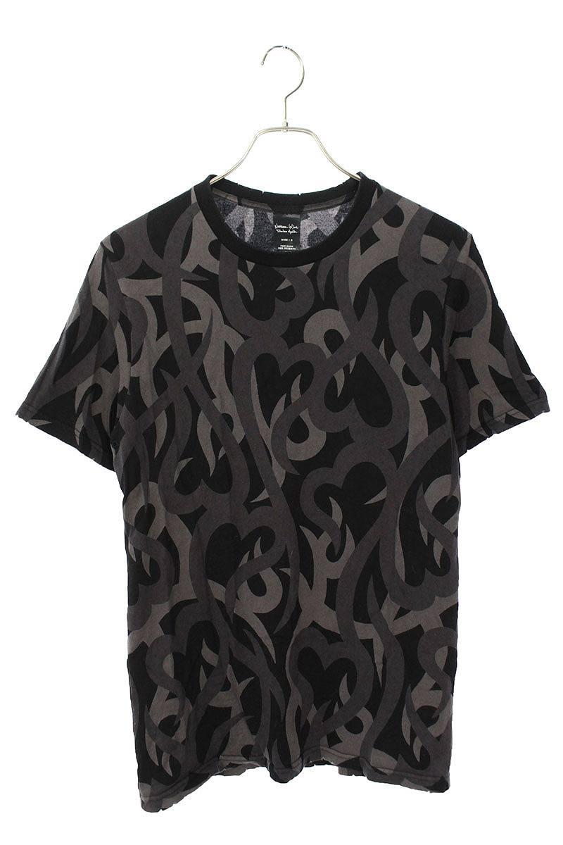 ダメージ加工トライバル総柄Tシャツ