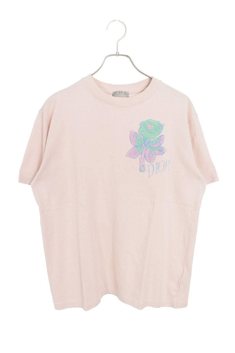 ローズ刺繍デザインTシャツ