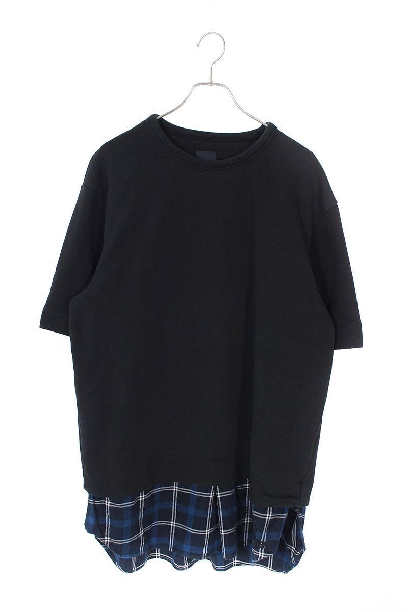 チェックシャツレイヤード半袖スウェット