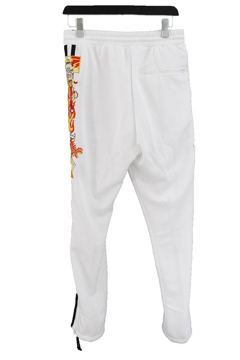 カオス刺繍裾ジップジャージトラックパンツ